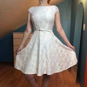 White floral fit and flare belt dress